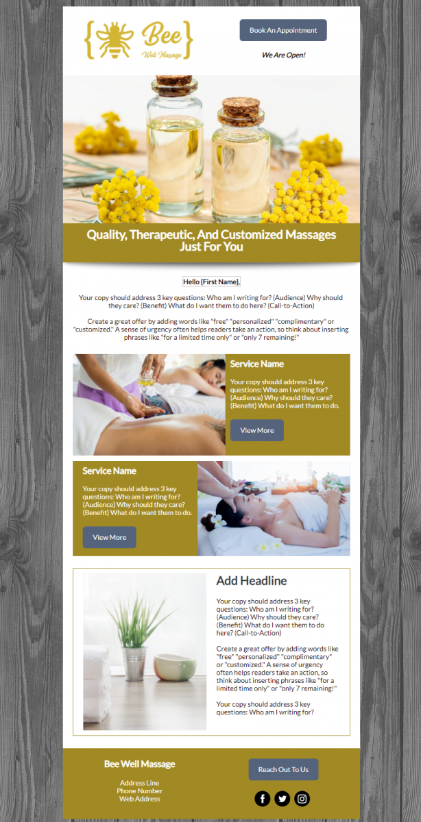 Bee-Well Massage Campaign Design