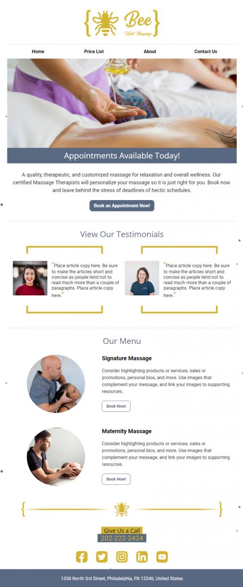 Bee-Well Massage Premium Design