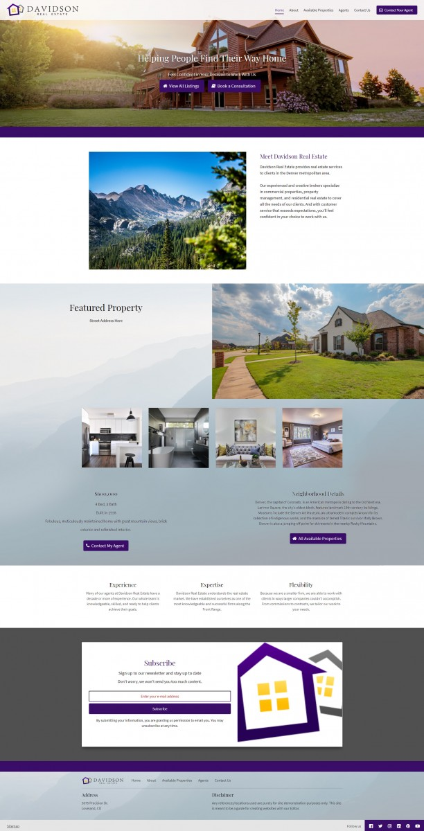 Davidson Real Estate Website Example