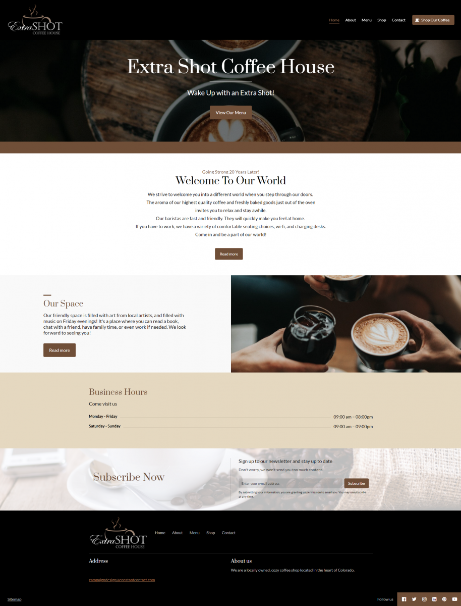 Extra Shot Coffee House Website Example