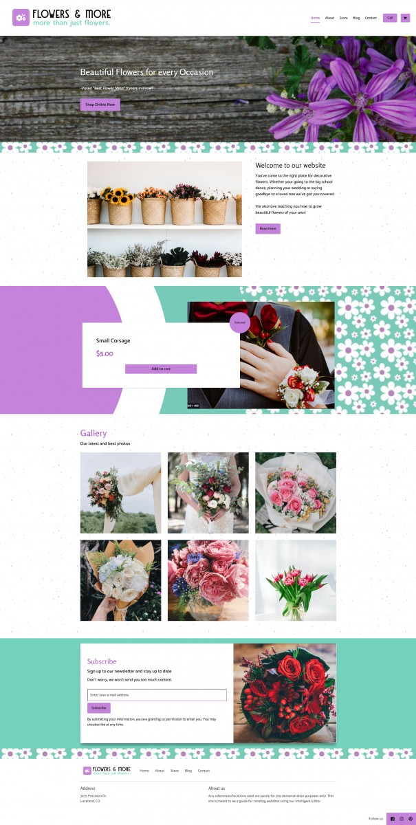 Flowers and More Website Example