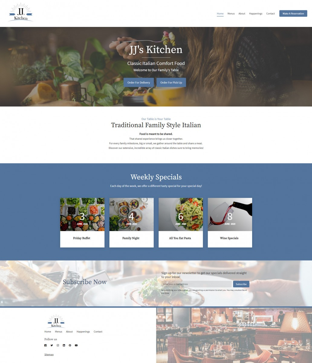 JJ's French Kitchen Website Example