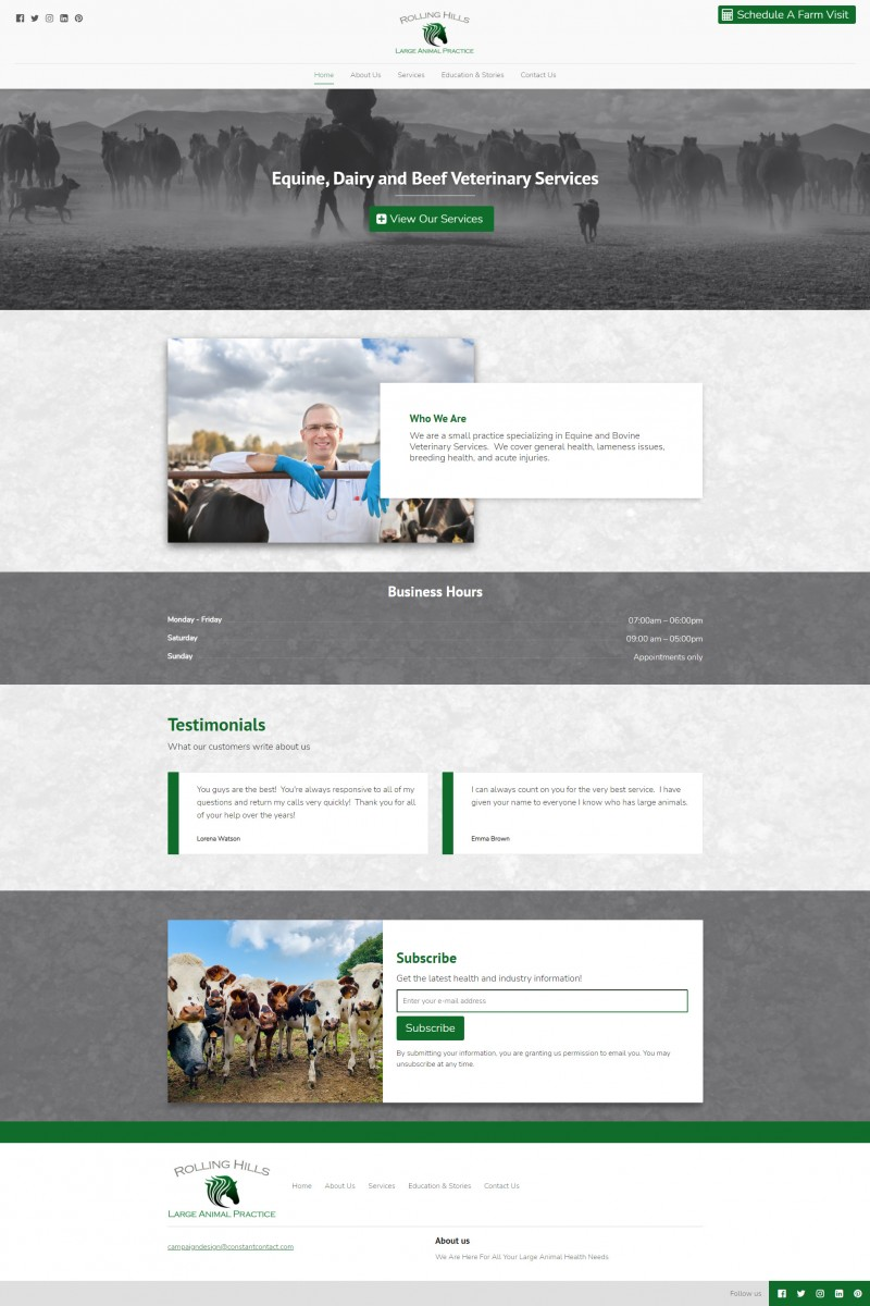 Rolling Hills Large Animal Practice Website Example
