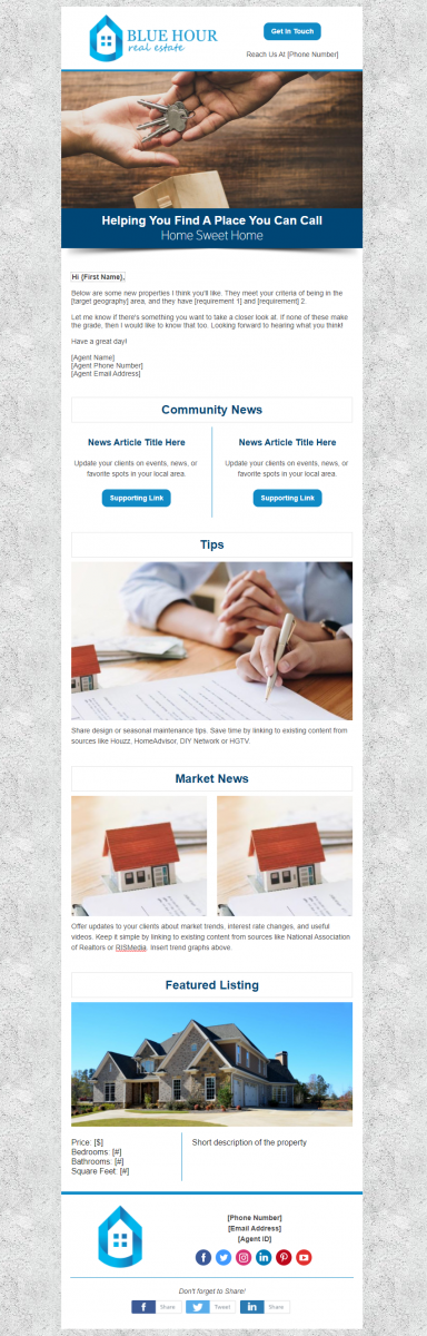 Real Estate Campaign Design Example - Blue Hour Real Estate