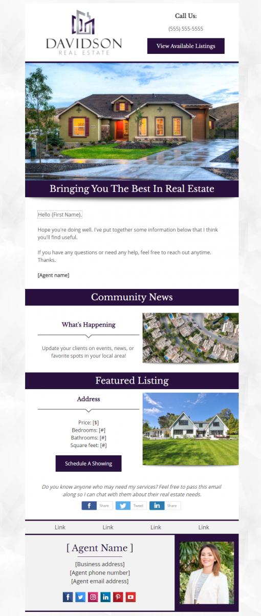 Real Estate Campaign Design Example - Davidson Real Estate