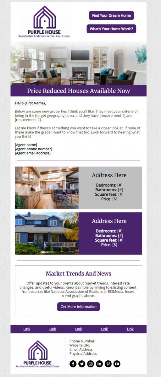 Real Estate Campaign Design Example - Purple House Real Estate